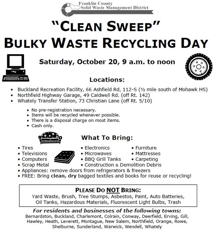 Clean Sweep Bulky Waste Recycling Day Sat Oct 20 2018 Town Of